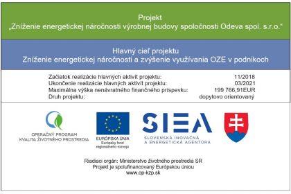 Projekt Zníženie energetickej náročnosti výrobnej budovy ODEVA, spol. s r. o.