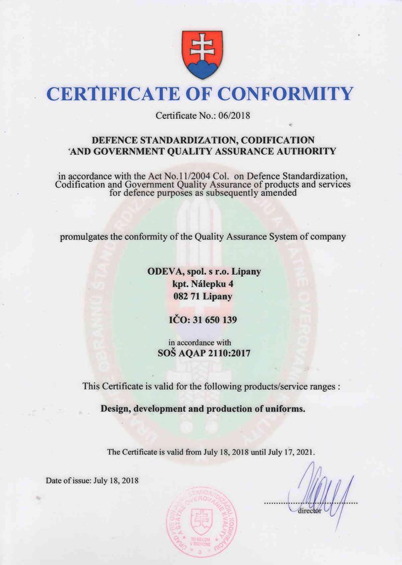 Certificate of conformity AQAP 2110