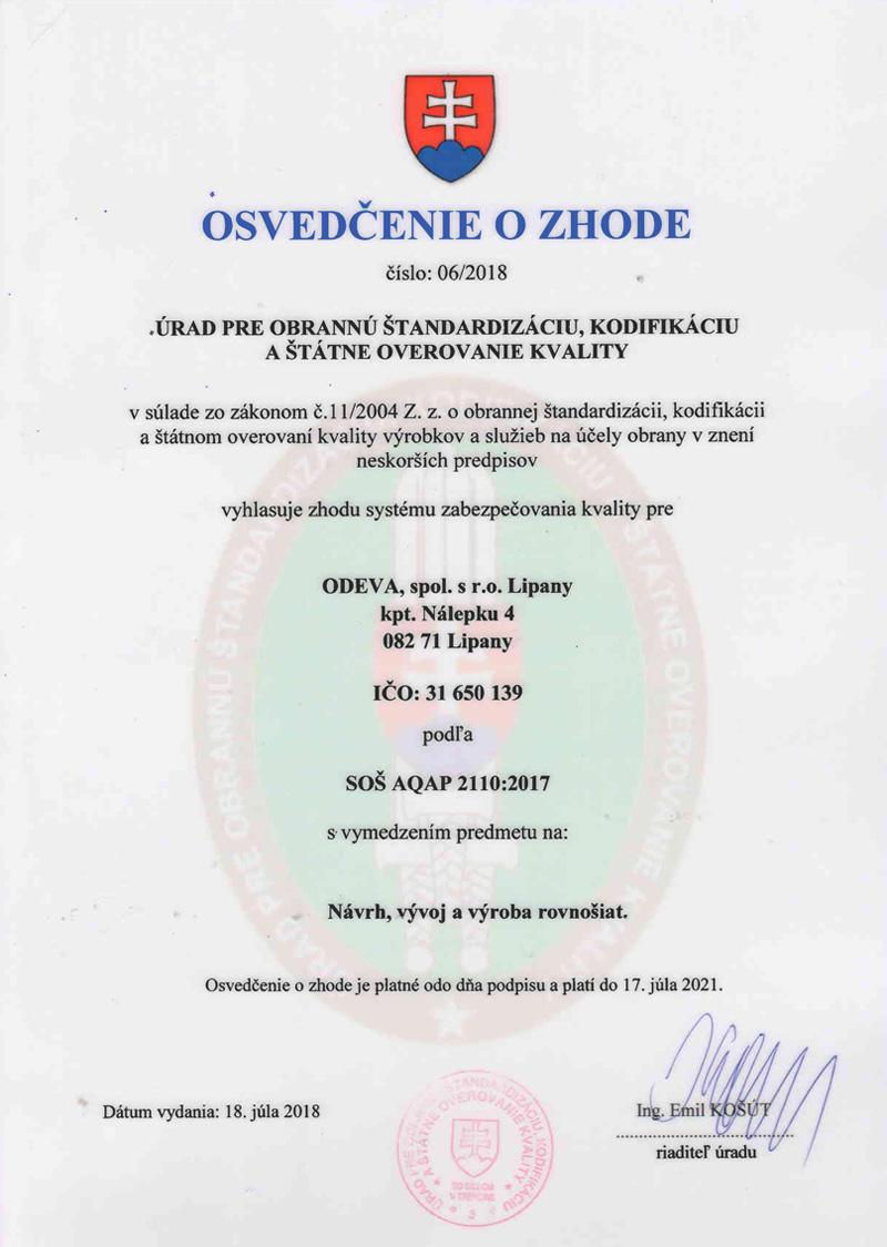 Certifikát AQAP 2110